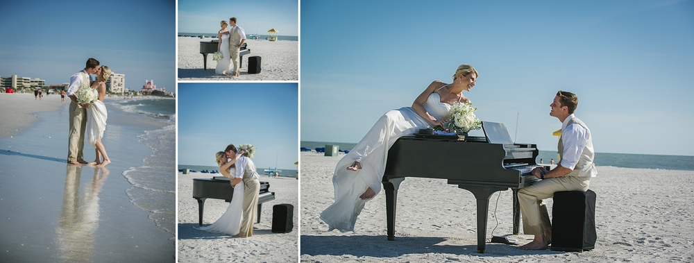 baby grand piano on the beach sirata beach wedding photos