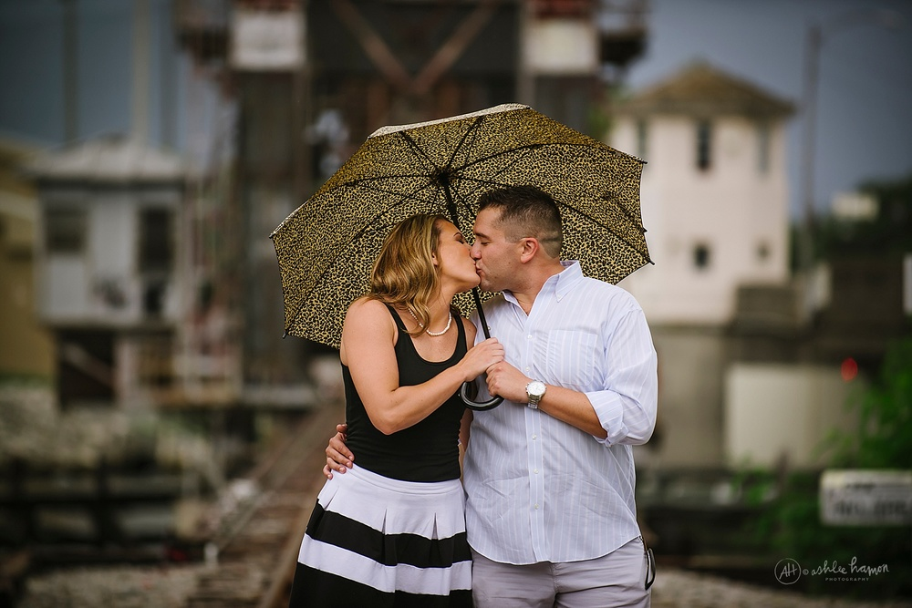 rainy engagement photography