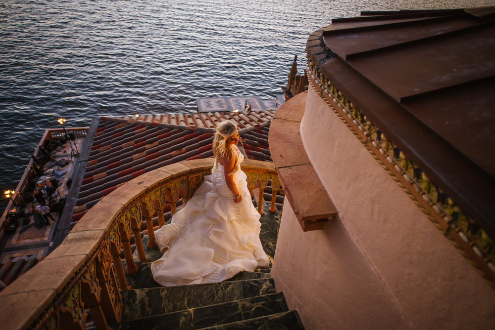 sarasota-wedding-photographer-tampa-bride-portrait-ca-dzan-luxury-ringling-museum-sunset-haley-paige-dress-couture-water-ocean