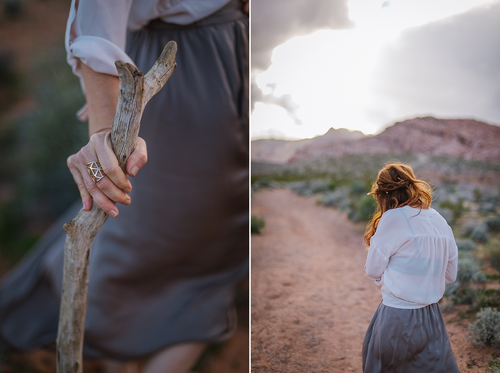We took a trip to Red Rocks Canyon to shoot each other. The temperature dipped to 34 once the sun went behind the mountains but were so giddy with the color and the drastically different environment that we didn't care!