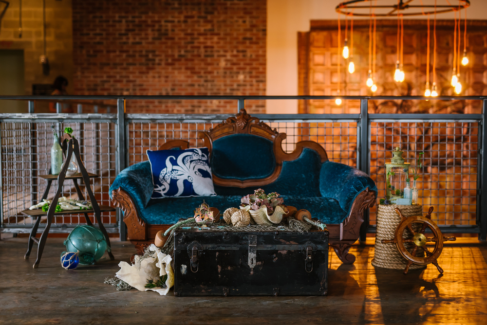 In the spring the rest of the VHS girls and I started a wonderful relationship with a fellow girlboss over at the Coppertail Brewery. Our first project together was a steampunk & nautical inspired styled wedding photo shoot in their incredible space! It was even featured on  Offbeat Bride !