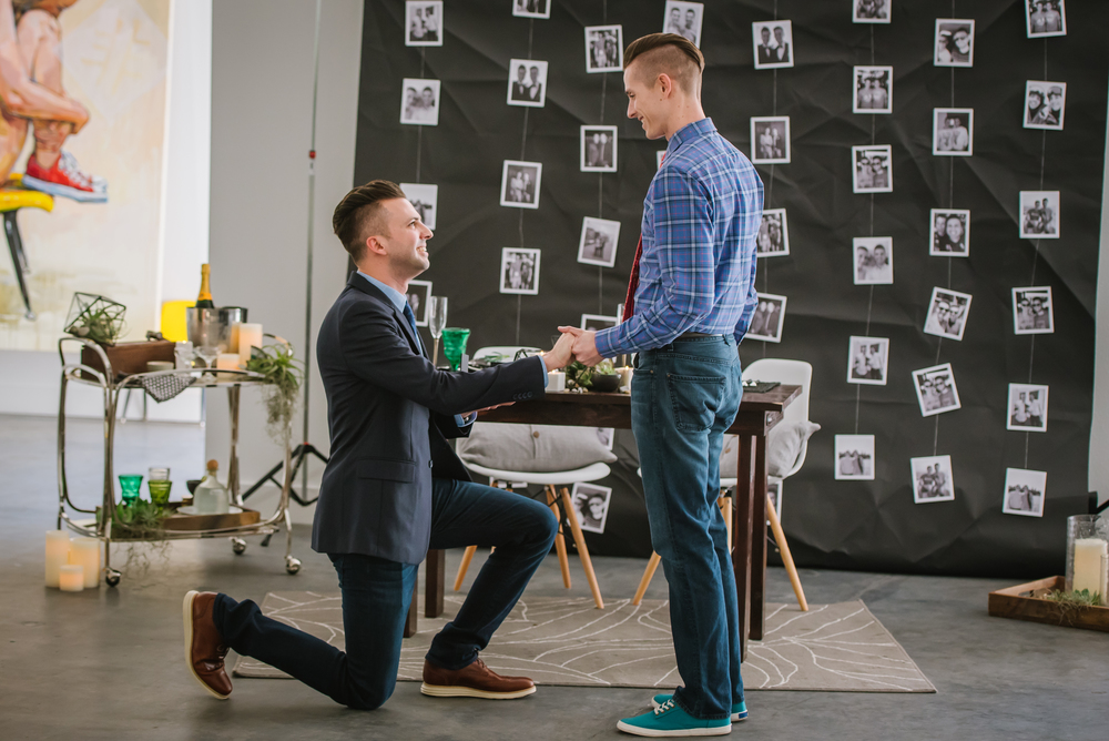 Who could forget Ryan & Nicholas' amazing engagement! Becky, Gayle, Jen, and I created an incredible surprise proposal complete with catering by Salt Block and an acoustic guitarist at the Cass Contemporary!! This image recently was shared on The Knot's instagram and currently has more than 7K likes! You know you want to see more so check out all of the amazing details here!