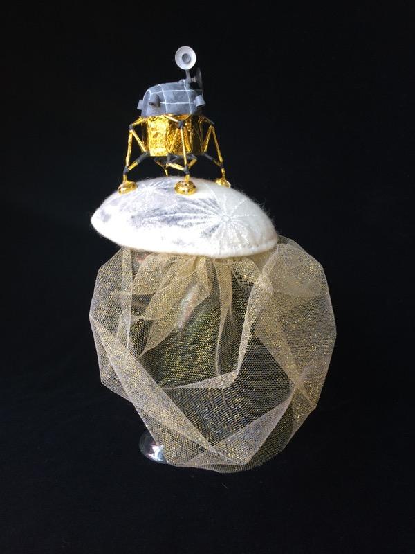 Lunar Lander Fascinator. Wool, acrylic paint, mylar, balsa wood, tulle. 2015.