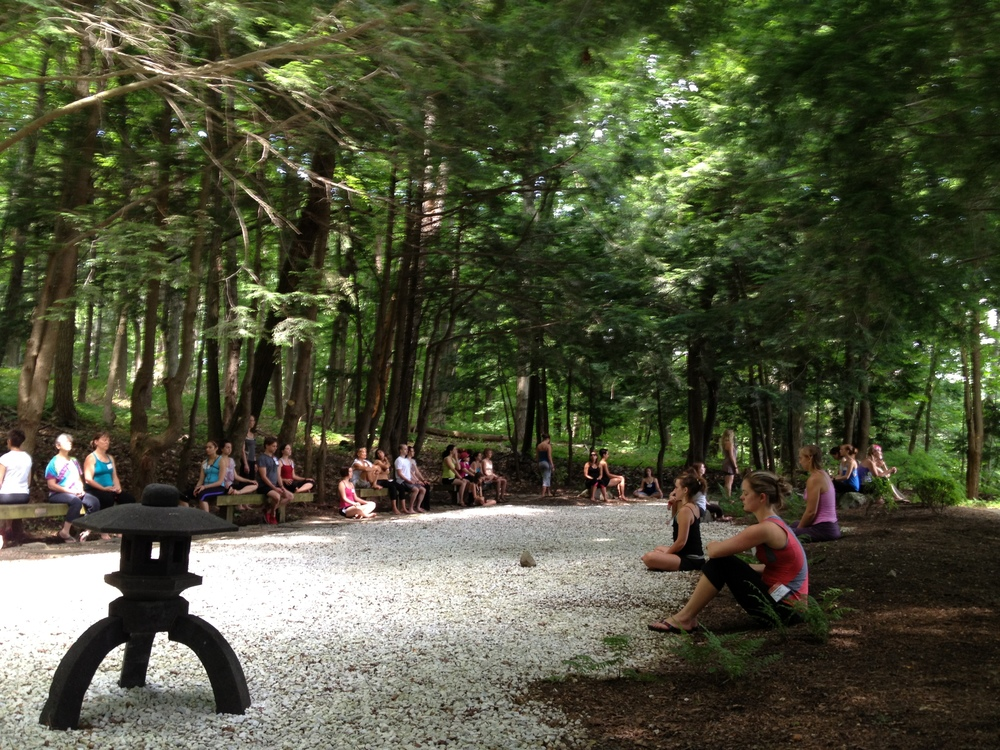 KYTT'12 - Yogis in Bapuji's Garden Meditating.JPG