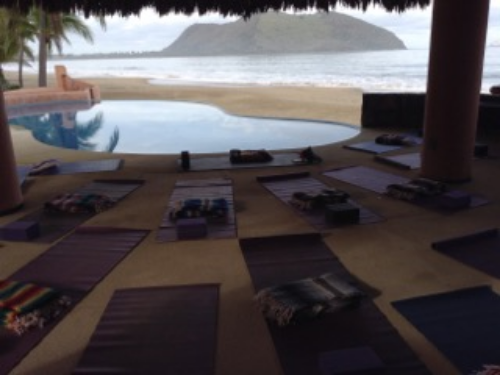 Early morning in the Barra De Potosi, Mexico ready for the yoga class to begin.  Jashoda teaches a weekly yoga and meditation class.