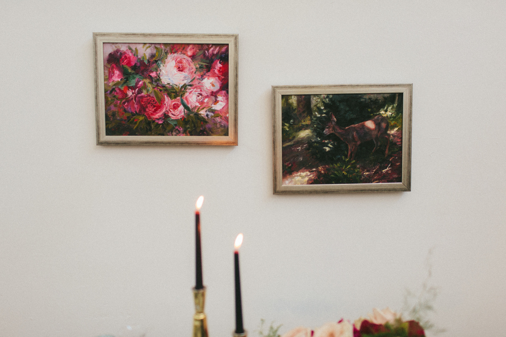 Photo by Abi Q Photography:: Florals by Mandolin Flowers:: Paintings by Sarah Nightingale  www.abiqphotography.com  www.mandolinfloral.com   www.sarahcroft.com
