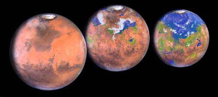 Can we terraform Mars, as illustrated in this image, or other planets, to make them habitable for human life?