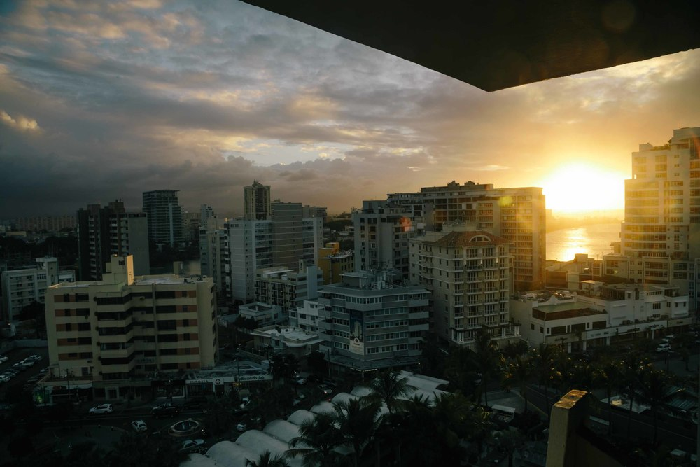 The view from the top floor of the hotel at sunset.