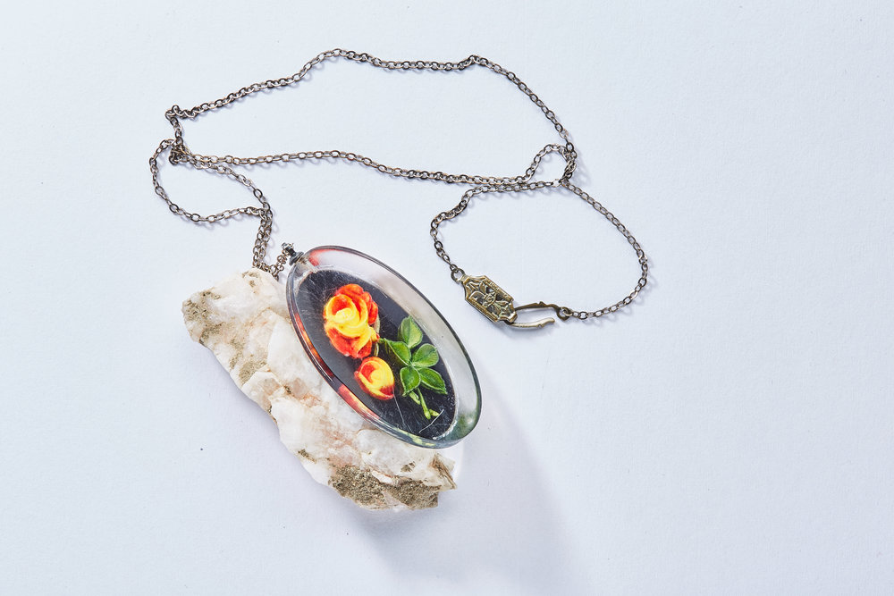1940s Carved Lucite Necklace $12.00