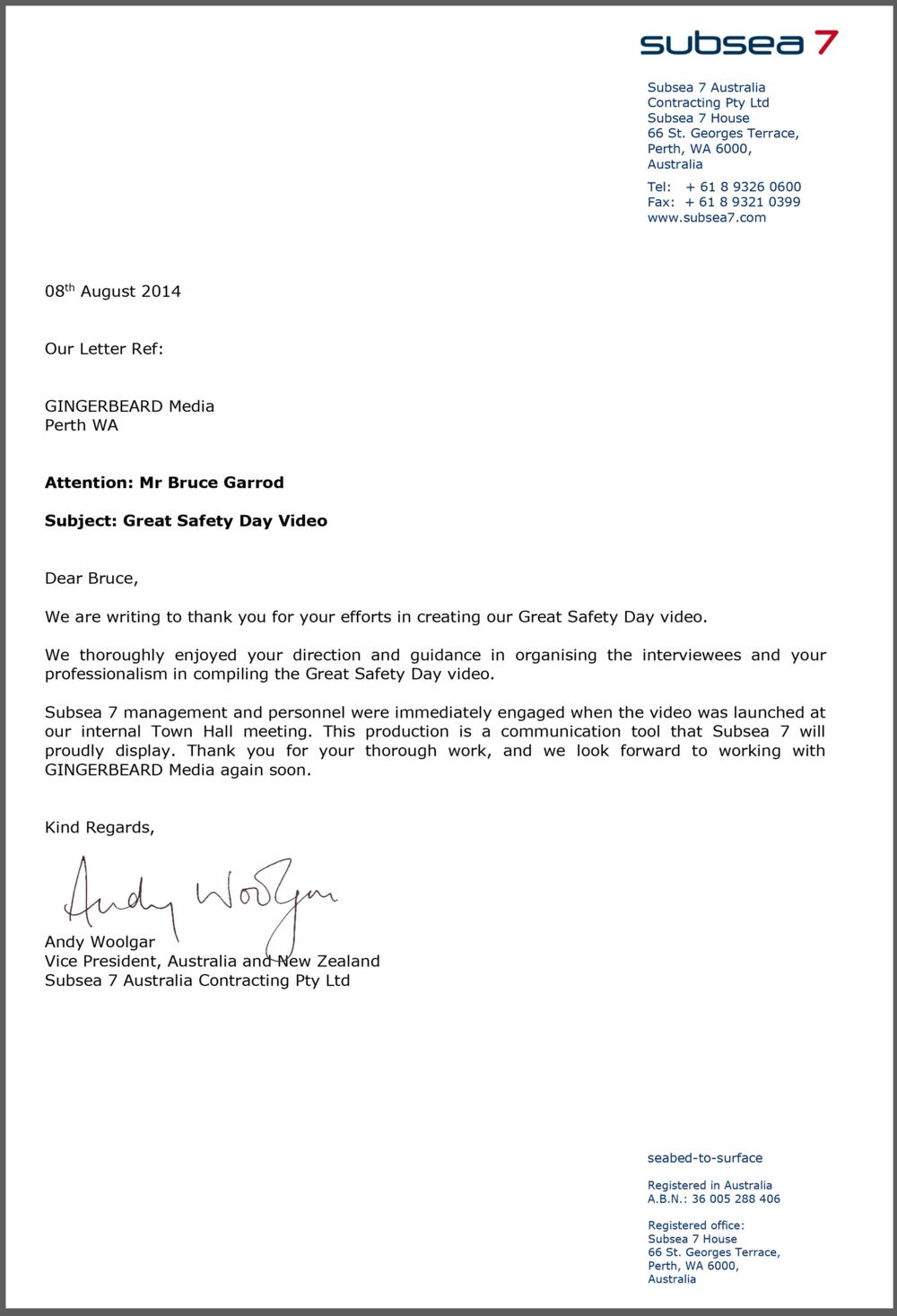 endorsement letter from subsea gingerbeard media