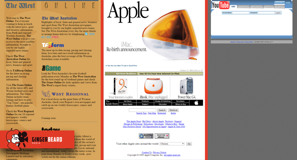 Images sourced from  web.archive.org   (The West May 10th 2000,Apple - Apr 17th 1999,YouTube 28 April 2005)