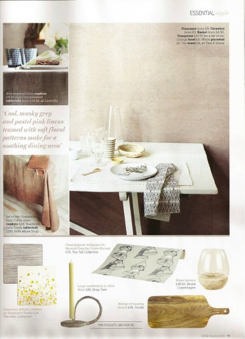 Champignon wallpaper in the March 2015 issue of Essential Kitchen, Bathroom, Bedroom magazine.