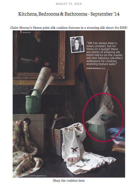 Heron cushion in Dupion silk in Kitchens, Bedrooms & Bathrooms September 2014
