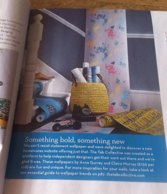 Flight wallpaper in June 2014 issue of Homes & Antiques