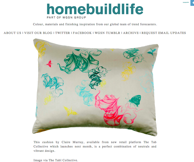 Trend forecasters at WGSN chose my Flight silk cushion in March 2014