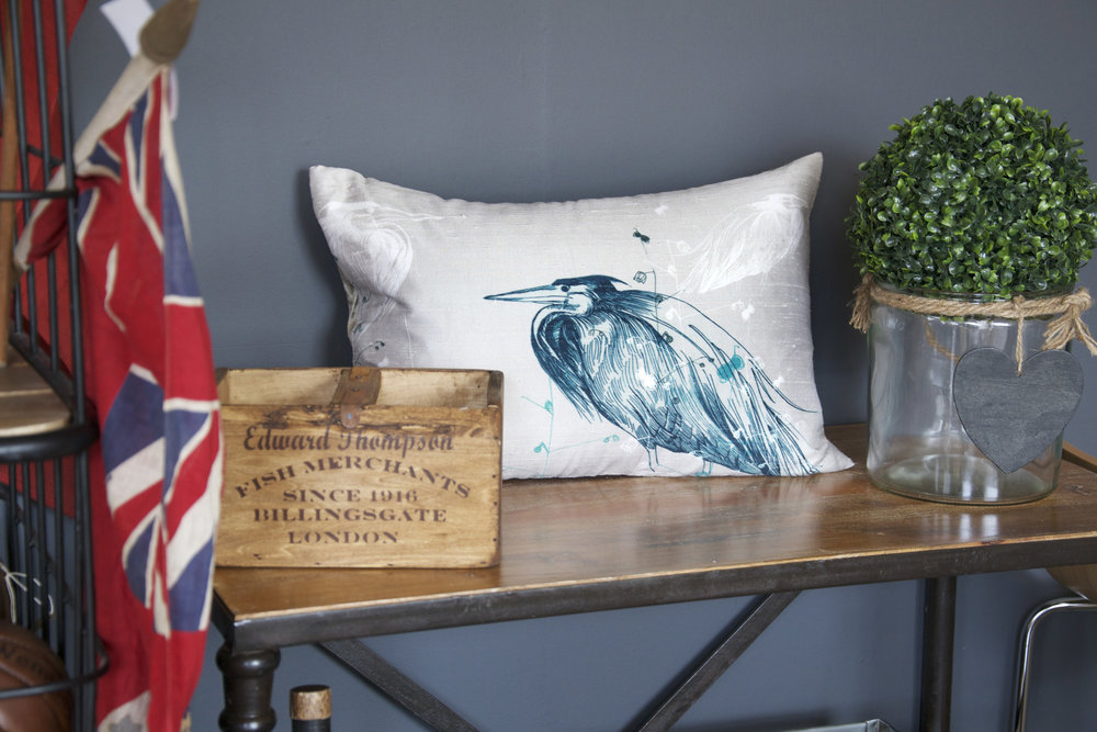 Heron Silk Cushion