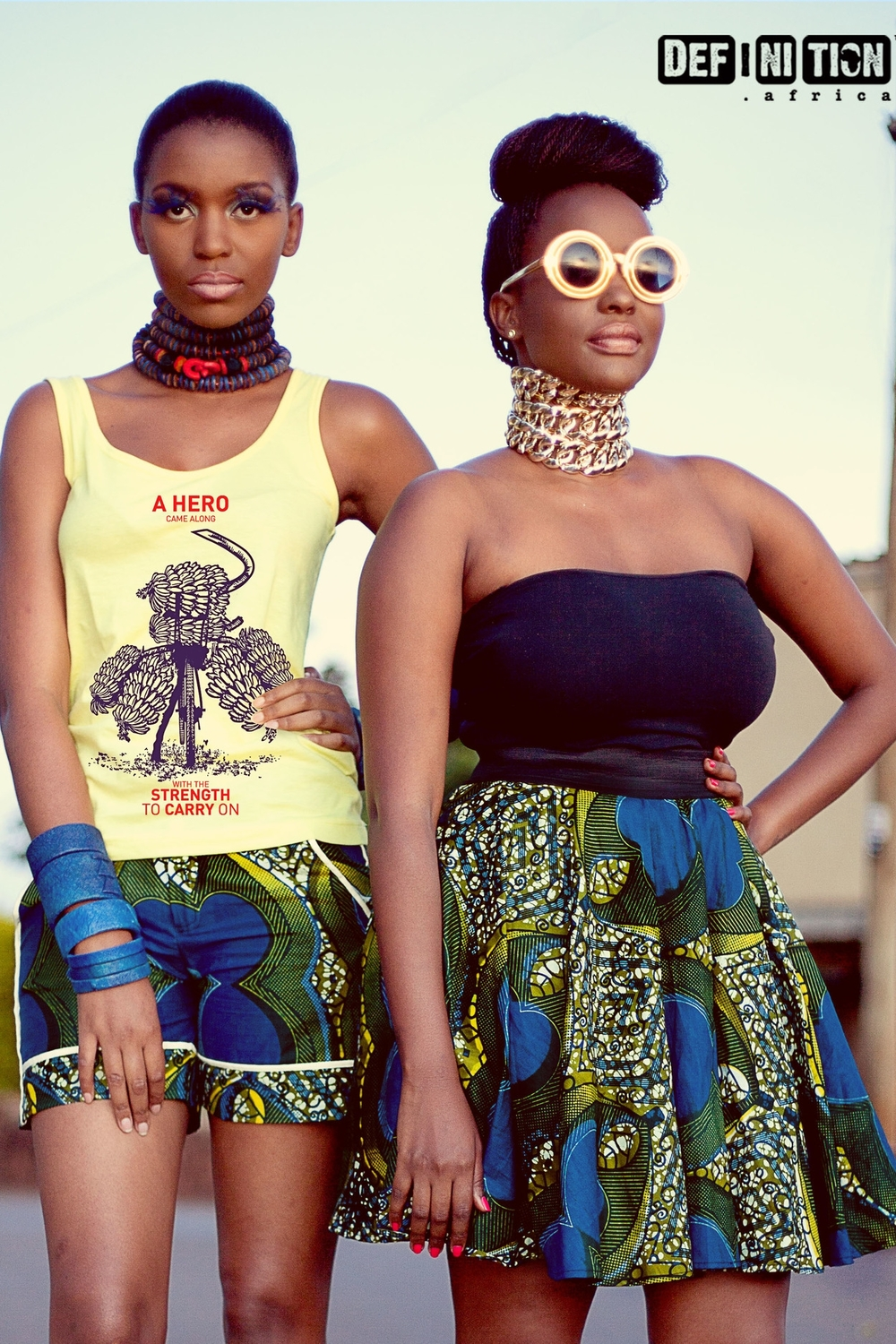 Definition Africa - Vest, Shorts & Skater Skirt - model on the left is wearing Balungi bracelets & necklace.jpg