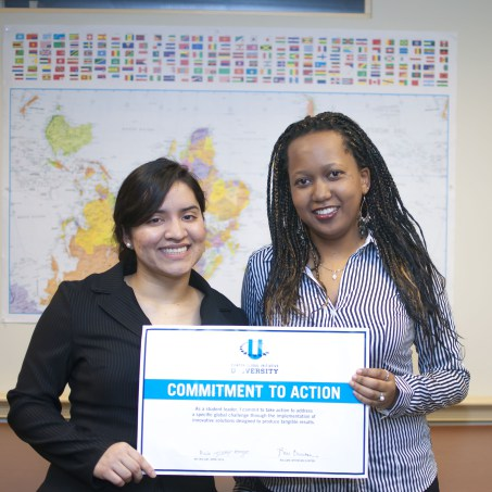 Co-founders Priscilla and Daniela with award from the Clinton Global Initiative University .jpg