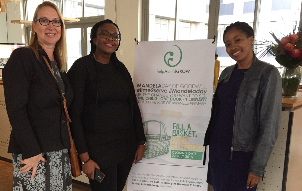 Melanie Hawken, Lerato Kadiaka and Matilda Sekoakoa at the launch of the Help A Child Grow Foundation Book Drive in Johannesburg on July 11th, 2015