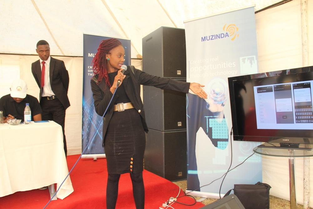 Tsungie Ncube pitches her new app at the Muzinda startup hub in Harare, Zimbabwe