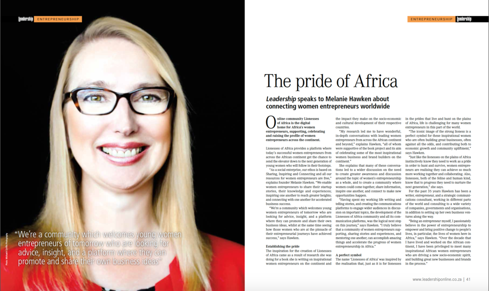 Melanie Hawken, LoA founder and editor-in-chief featured in Leadership Magazine (August 2015 Issue)