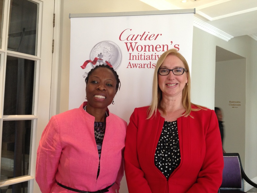Achenyo Idachaba and Melanie Hawken at the Cartier Women's Initiative Awards press conference in Johannesburg.
