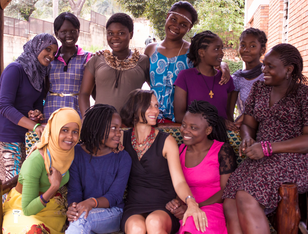 WFL Sarah with women refugee students.jpg