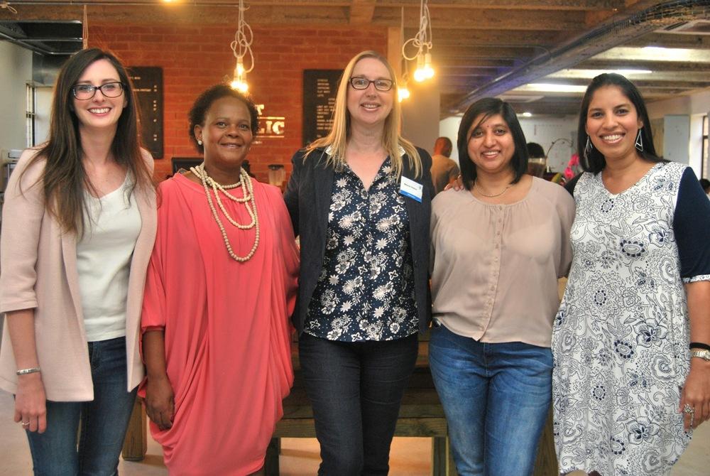 An inspirational line-up of speakers L-R: Stephanie Cowper, Penny Mpanza, Melanie Hawken, Jayshree Naidoo, Raksha Mahabeer