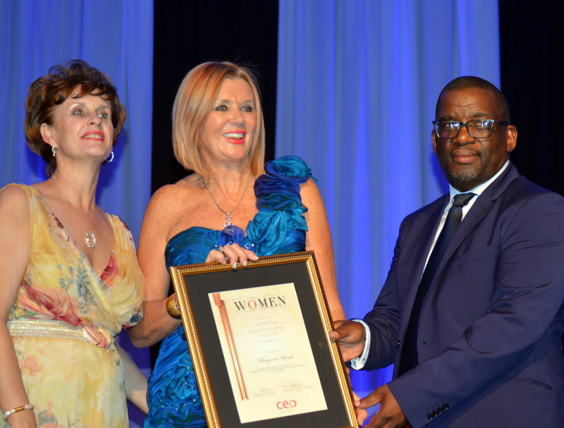 Margaret Hirsch  , co-founder and Chief Operations Officer of the  Hirsch Group  (centre), Annelize Wepener (left) and Cmdr. Tsietsi Mokhele (right)
