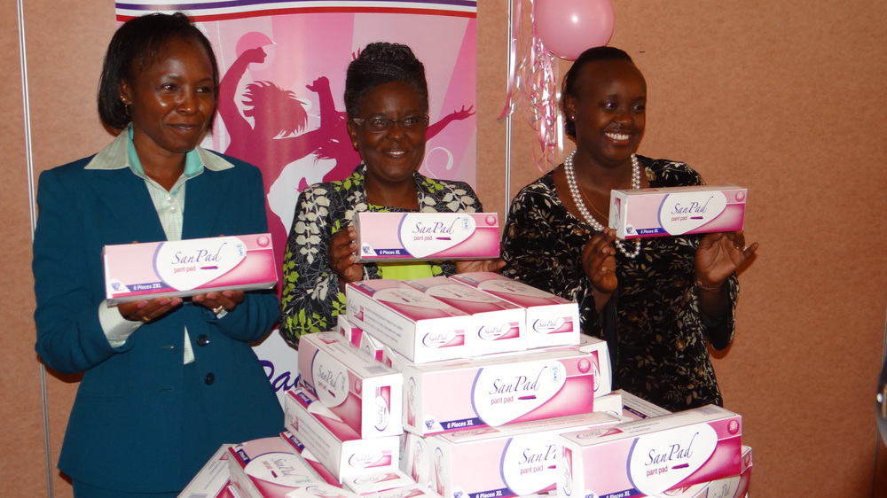 Lucy Kapkirwok (L) , founder and CEO of  Sanpad Products  (Kenya)