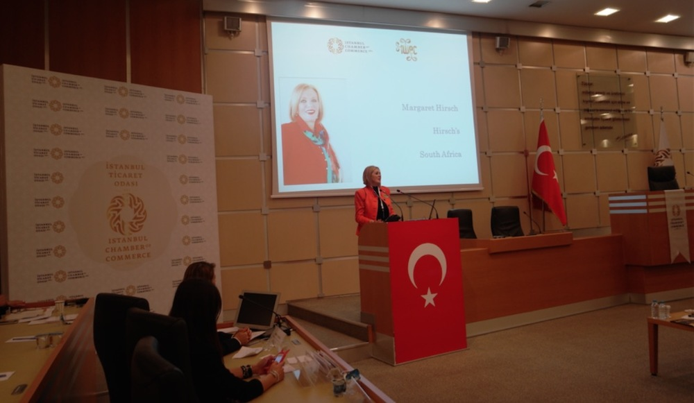 Margaret Hirsch at the speaker podium giving her talk in Turkey