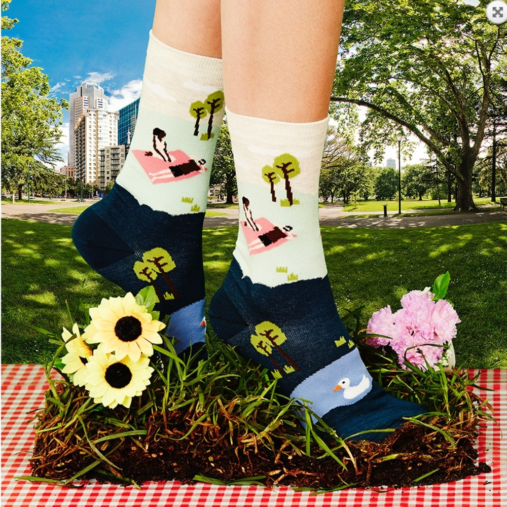Ladies' Pink Picnic Sock | by FEAT Sock.Co. | founders Alison Stewart and Chelsey Wilson (South Africa)