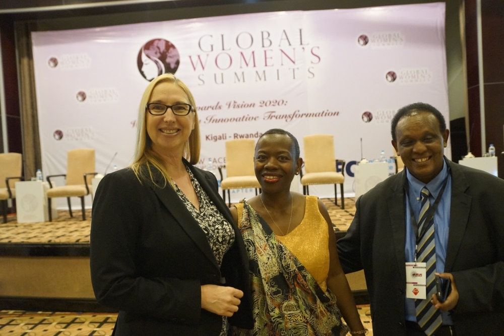 L-R: Melanie Hawken, founder & CEO of Lionesses of Africa, with Dr Monique Nsanzabaganwa, Chairperson of New Faces, New Voices Rwanda Chapter, and Mr Ignace Rusenga Mihigo Bacyaha, Country Resident Representative, International Finance Corporation World Bank Group