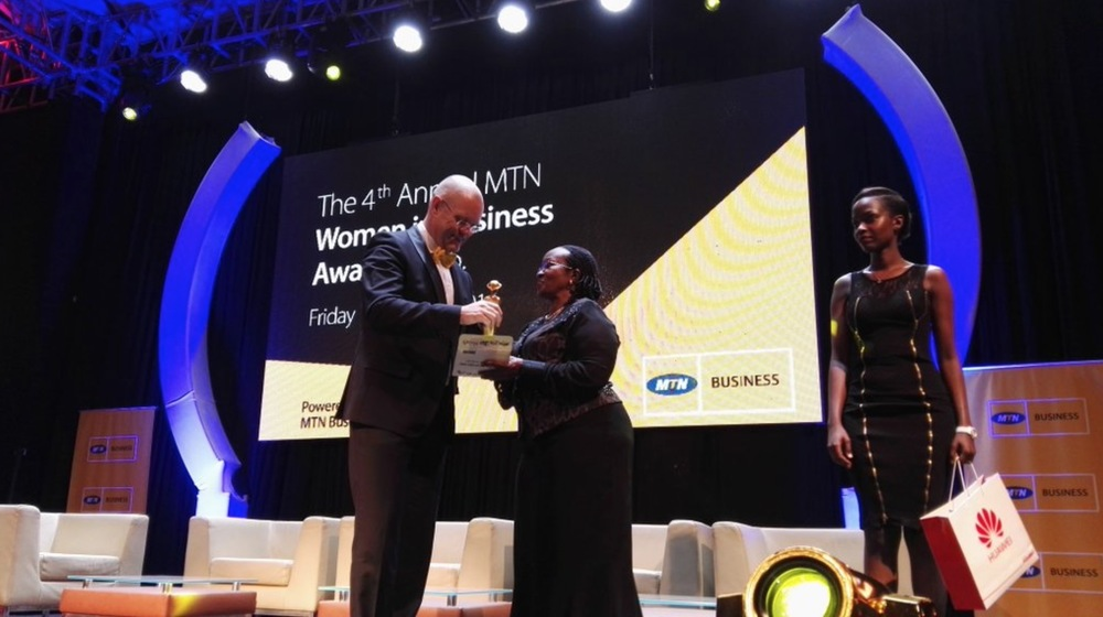 Alice Karugaba, founder of   Nina Interiors  receives her award