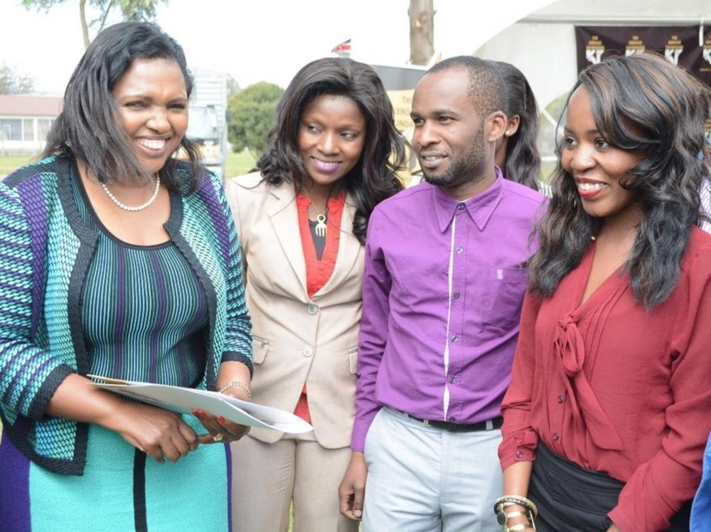 Tabitha Karanja (L), founder & CEO of Keroche Breweries with young mentees of the Keroche Foundation entrepreneurship mentorship programme