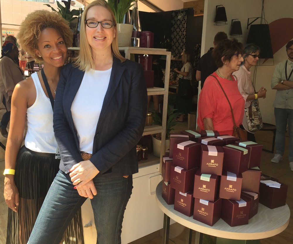Yswara founder and ceo, Swaady Martin, with Lionesses of Africa founder and ceo, Melanie Hawken, chat about the launch of the group's wonderful new Akrafo luxury tea and time-time accessories brand.