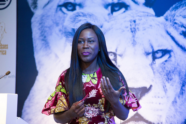 Tara Fela-Durotoye addressing the Lionesses of Africa Annual Conference 2017 in Johannesburg, South Africa