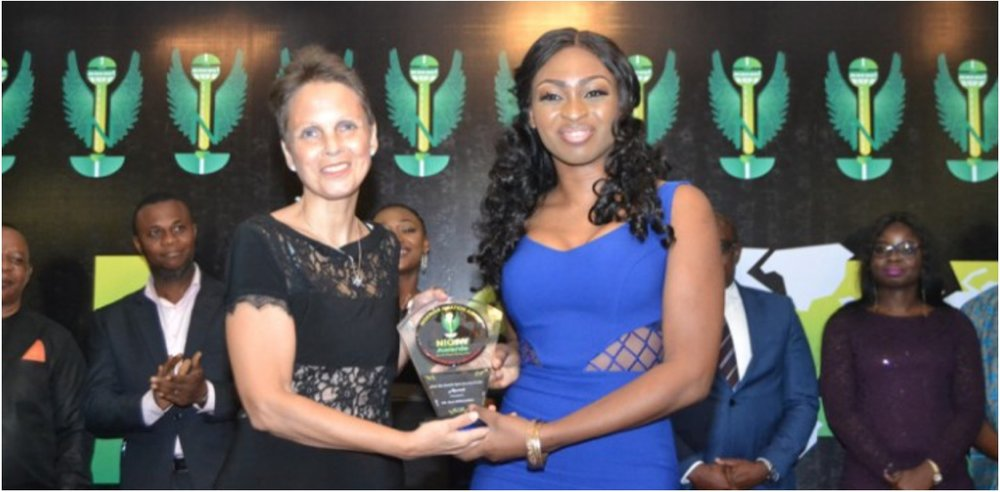 Flying Doctors Nigeria Founder, Dr Ola Brown and Finland's Ambassador to Nigeria, Pirjo Suomela-Chowdhury after Brown received the Aviation Most Remarkable Medical Personality Award from NIGAV in Lagos.