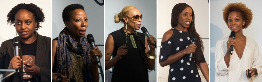 Pitch Session 1 -L-R:Dr Gladys Kalema-Zikusoka,Kim Addison, Adele Dejak, Akosua Afriyie-Kumi, Swaady Martin