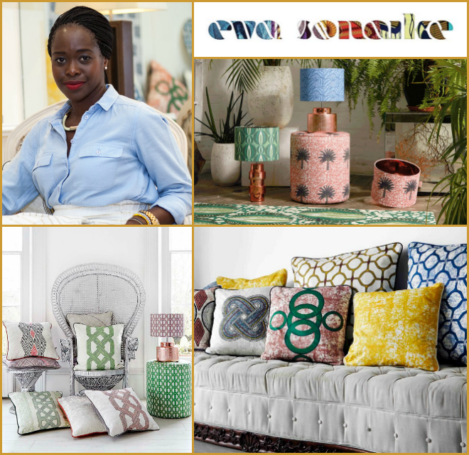 Eva Sonaike - Founder of Eva Sonaike (UK)A London-based lifestyle company creating beautiful African inspired, luxurious accessories for interior design.info@evasonaike.com    www.evasonaike.com