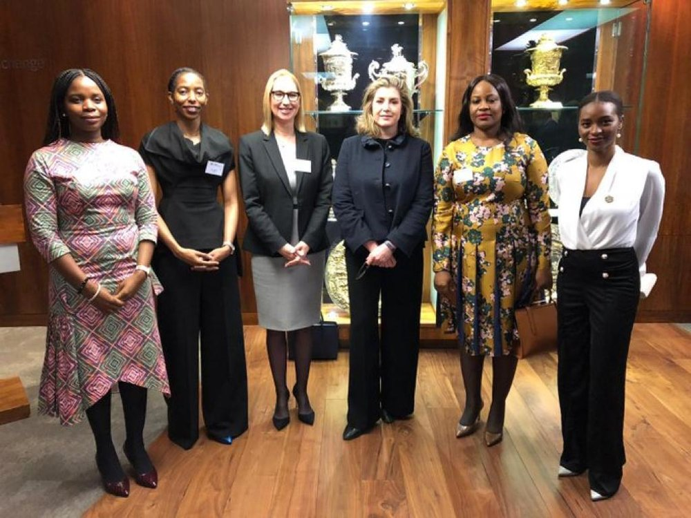Pictured: Toyin Odulate, founder of Olori Cosmetics; Dr Amy Jadesimi, CEO, LADOL; Melanie Hawken, founder and ceo, Lionesses of Africa; the Rt Hon Penny Mordaunt MP, Secretary of State for International Development; and (far right) Manji Cheto, Business Development Manager, Africa-Primary Markets, London Stock Exchange Group