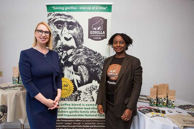 Dr Gladys Kalema Zikusoka (R), founder of Gorilla Conservation Coffee with Melanie Hawken at the Lionesses of Africa 'Start-up Night Africa!' event in London 2018