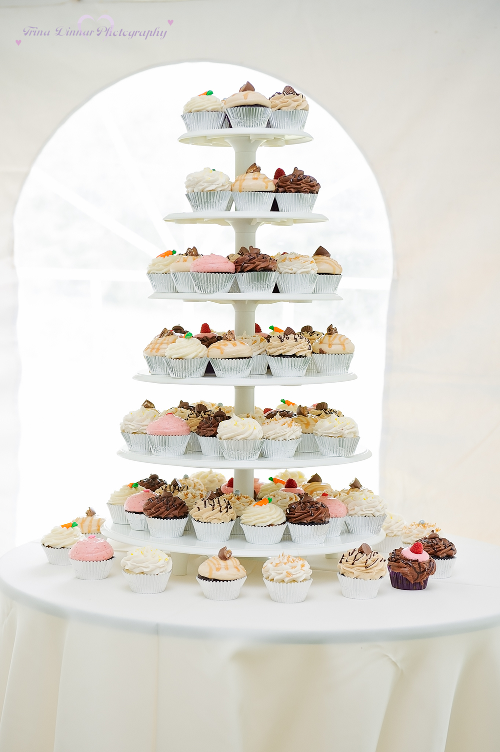 cupcake tiered wedding cake