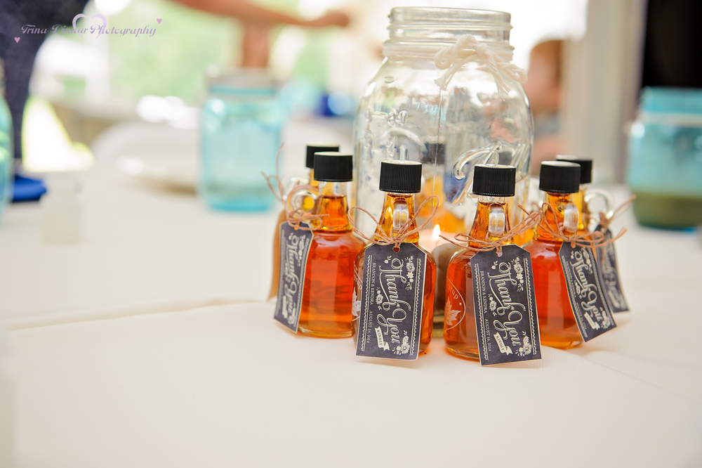 mason jar table centerpieces at a wedding reception