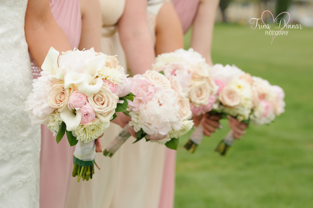 Wedding party bouquets photographed in Southern Maine