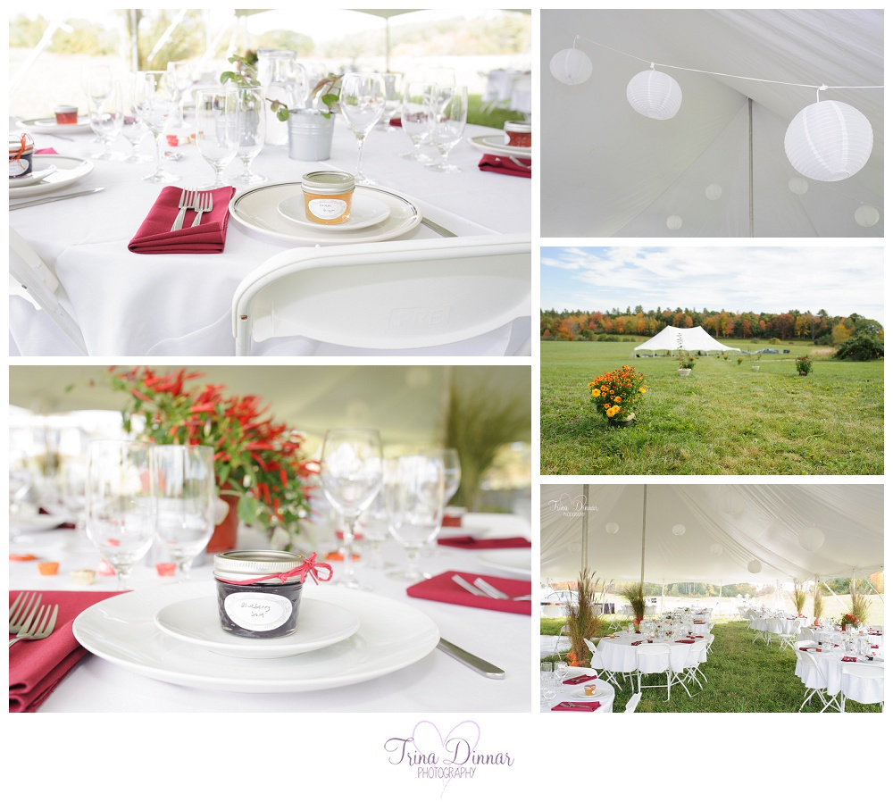 Maine Wedding Photographer, Trina Dinnar Photography captures reception details in Alna, ME.