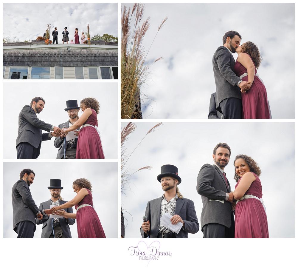 Rooftop Wedding Ceremony in Maine