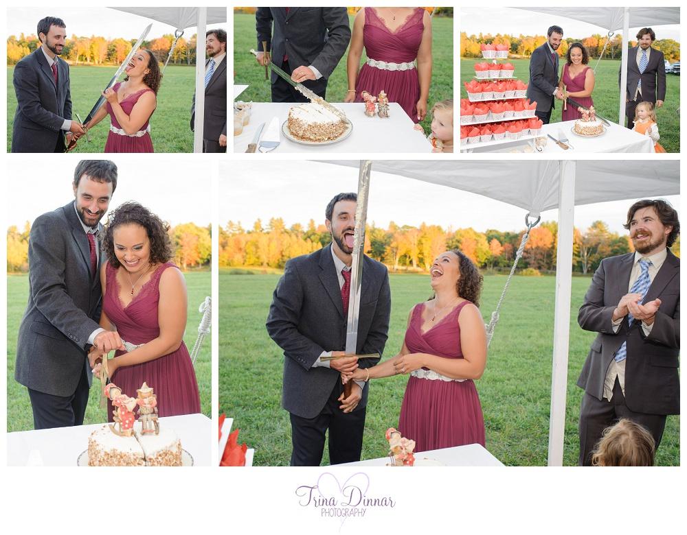 Maine Wedding - Sword Cake Cutting