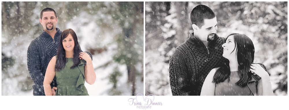 Coastal Maine winter engagement photography in the snow.