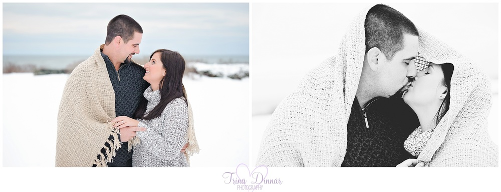 blanket cuddle engagement photos